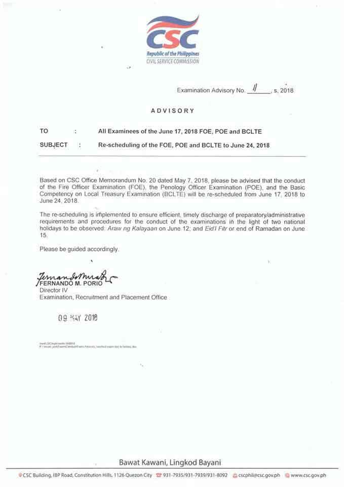 CSC Rescheduling memo