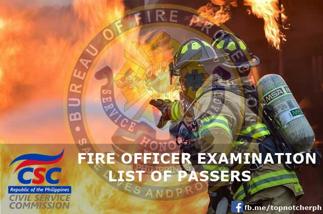 official list of fire officer exam passers