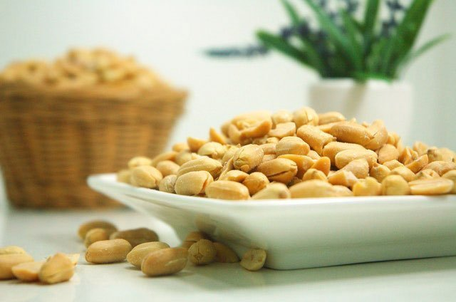 peanuts in a plate for healthy brain during the exam
