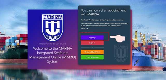 MARINA Create Account window
