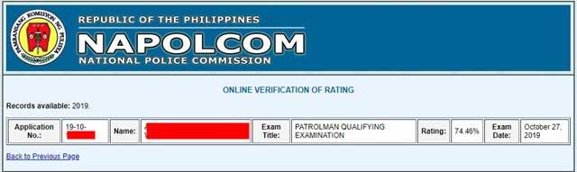 NAPOLCOM Rating Verification Result