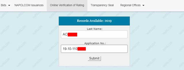 Information Box Napolcom verification