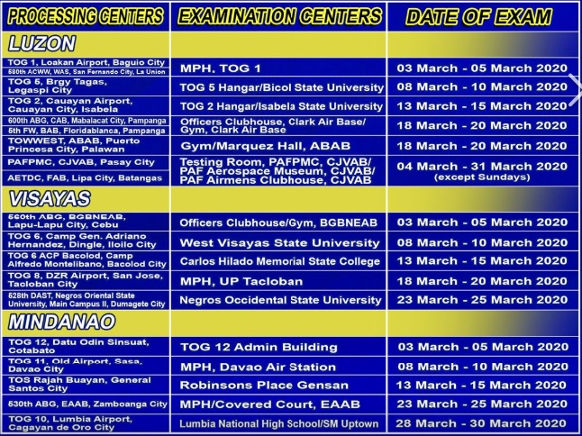 Philippine Air Force Exam 2020 Schedule Venue And Requirements