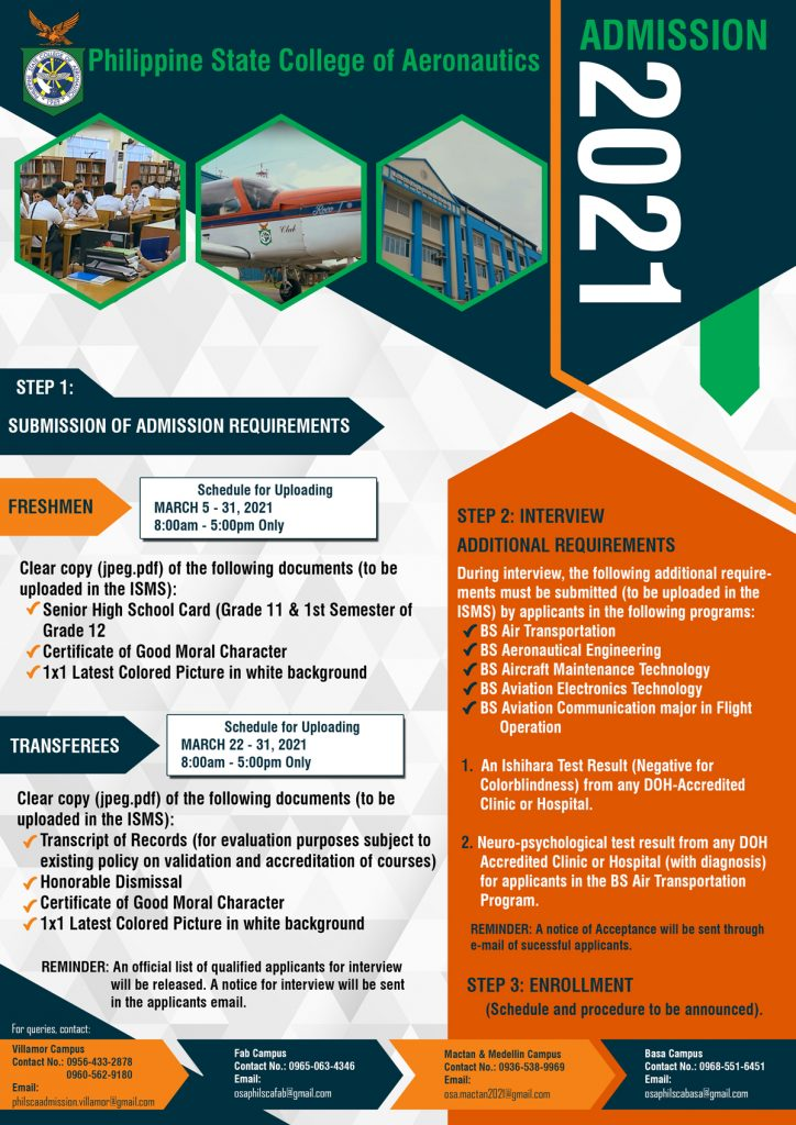admission procedure for PhilSCA application 2021-2022